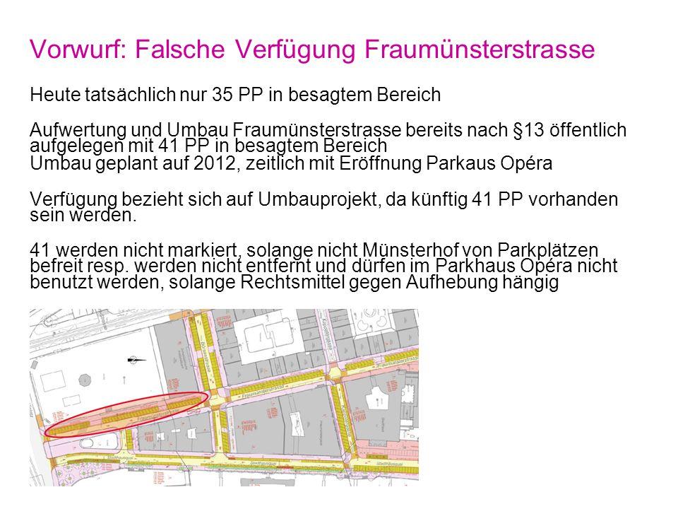 Vorwurf: Falsche Verfügung Fraumünsterstrasse