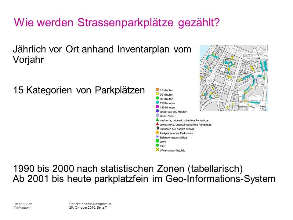 Wie werden Strassenparkplätze gezählt