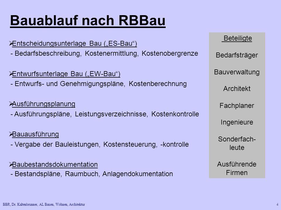 """Bauablauf nach RBBau Beteiligte Entscheidungsunterlage Bau (""""ES-Bau )"""