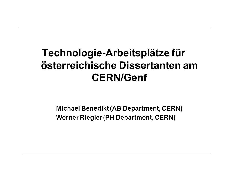 Technologie-Arbeitsplätze für österreichische Dissertanten am CERN/Genf