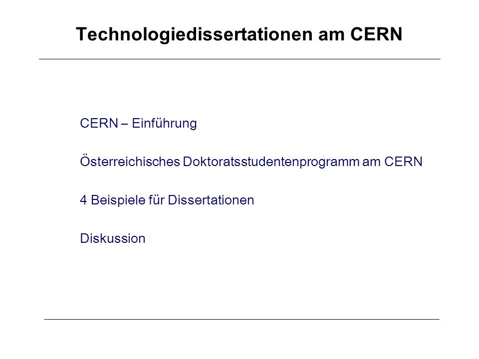 Technologiedissertationen am CERN