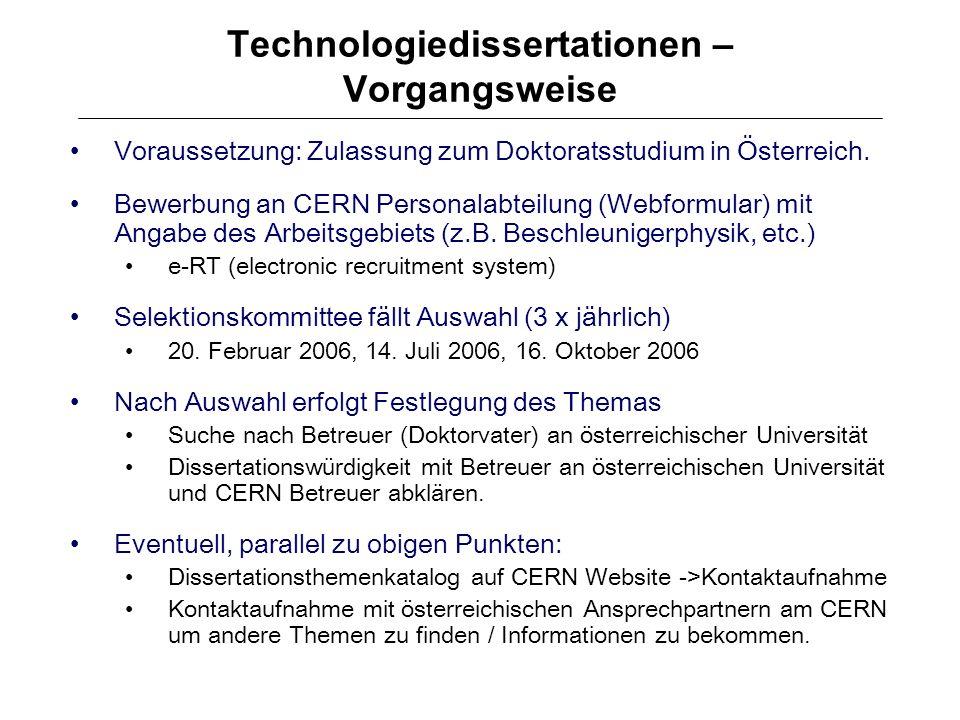 Technologiedissertationen – Vorgangsweise
