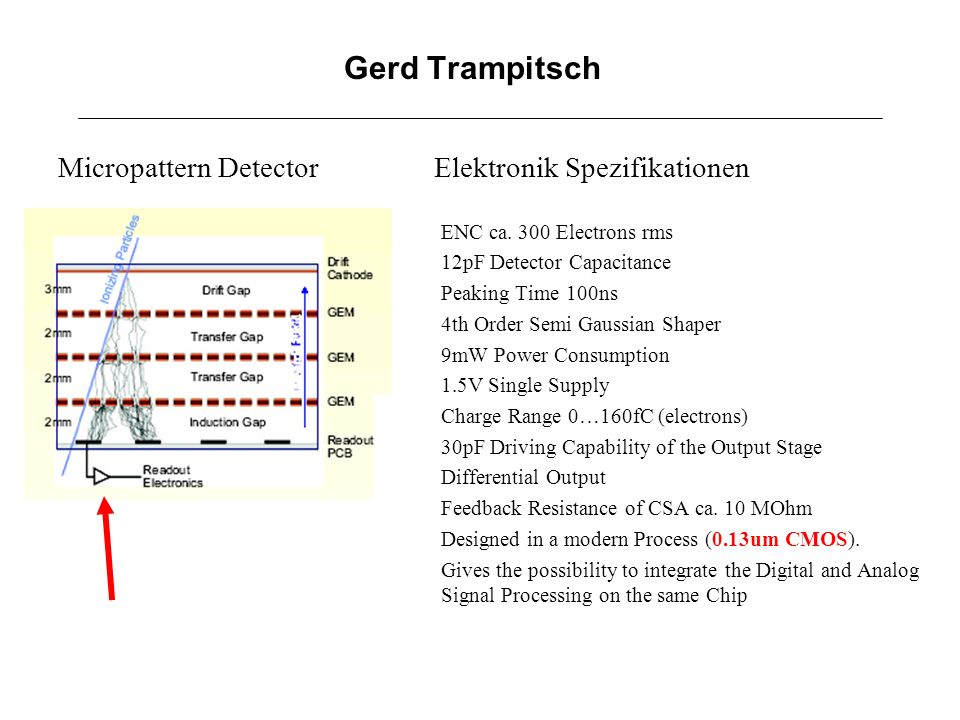 Gerd Trampitsch Micropattern Detector Elektronik Spezifikationen