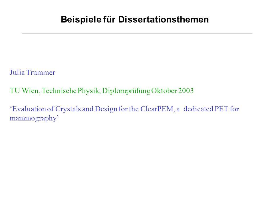 Beispiele für Dissertationsthemen