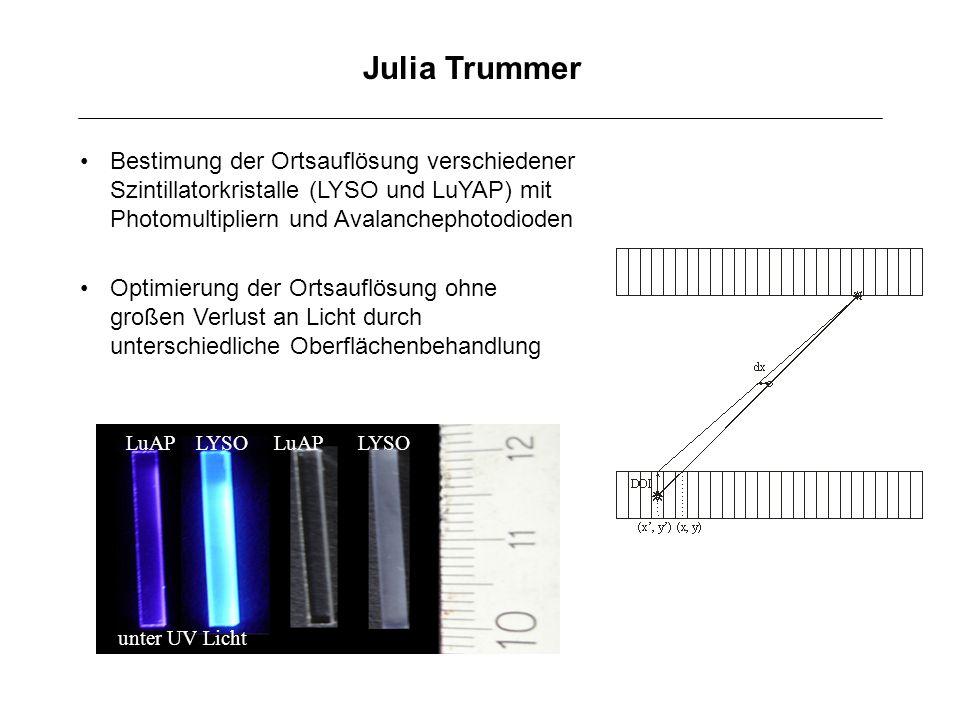 Julia Trummer Bestimung der Ortsauflösung verschiedener Szintillatorkristalle (LYSO und LuYAP) mit Photomultipliern und Avalanchephotodioden.