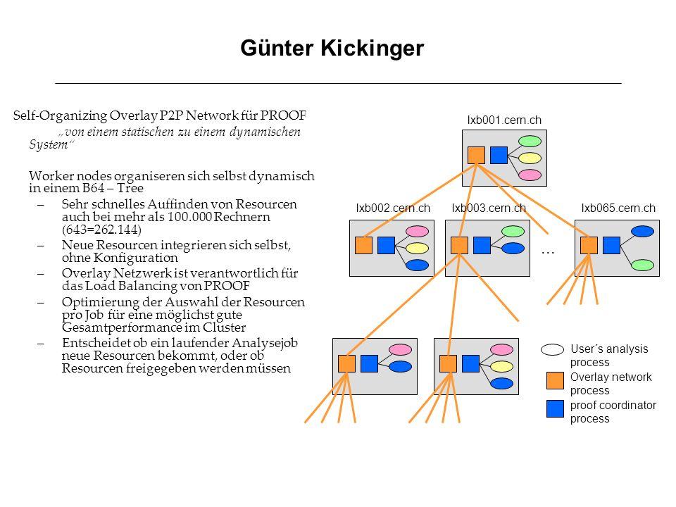 """Günter Kickinger Self-Organizing Overlay P2P Network für PROOF. """"von einem statischen zu einem dynamischen System"""