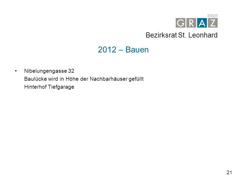 2012 – Bauen Bezirksrat St. Leonhard Nibelungengasse 32