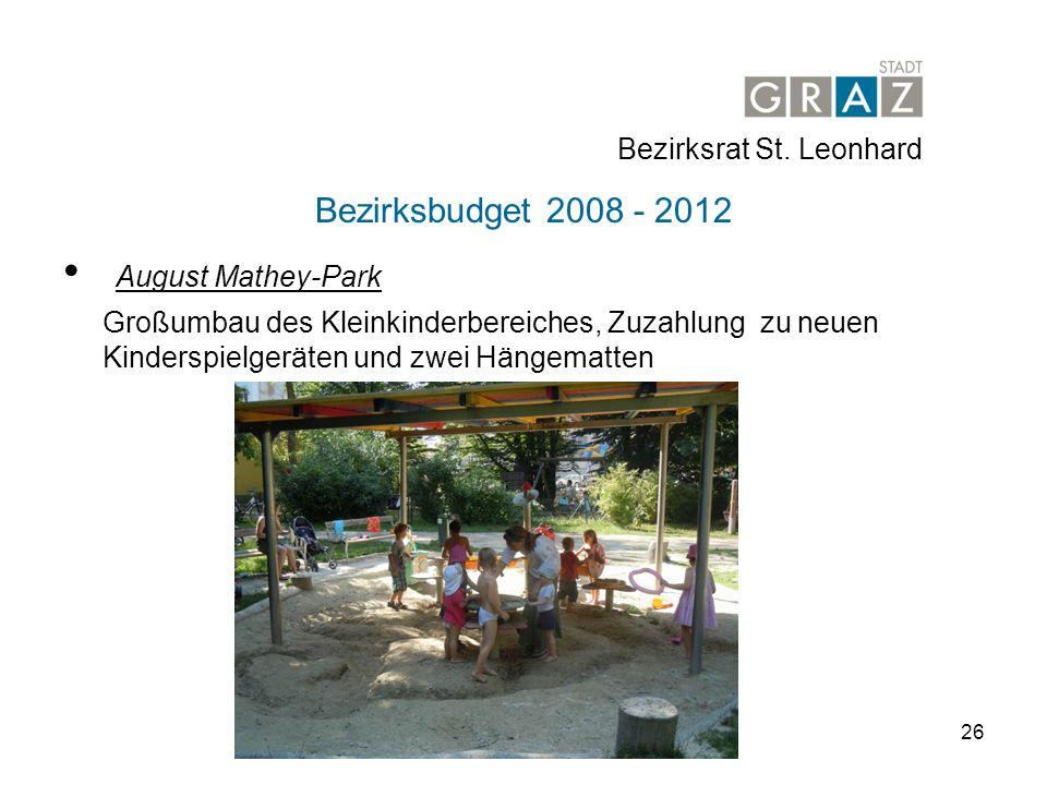 August Mathey-Park Bezirksbudget 2008 - 2012 Bezirksrat St. Leonhard
