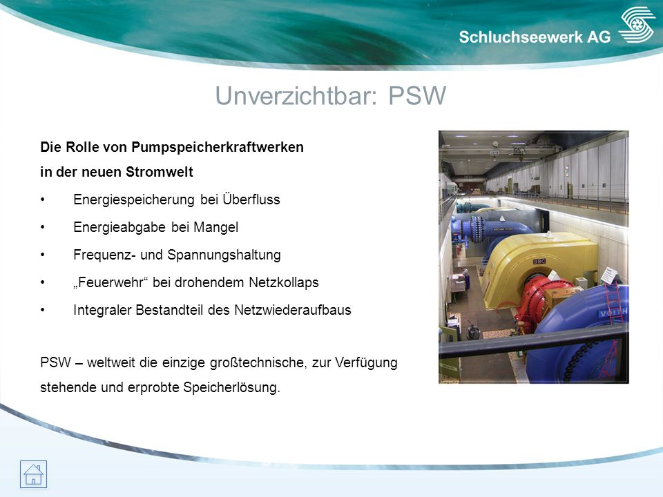 Unverzichtbar: PSW Die Rolle von Pumpspeicherkraftwerken in der neuen Stromwelt. • Energiespeicherung bei Überfluss.