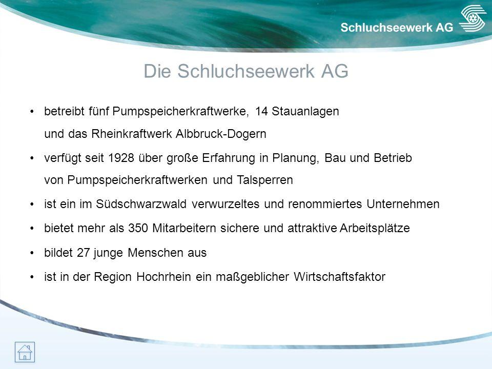 Die Schluchseewerk AG • betreibt fünf Pumpspeicherkraftwerke, 14 Stauanlagen und das Rheinkraftwerk Albbruck-Dogern.