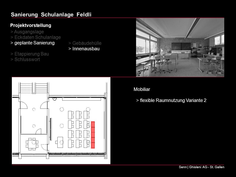 Projektvorstellung > Ausgangslage. > Eckdaten Schulanlage. > geplante Sanierung. > Etappierung Bau.