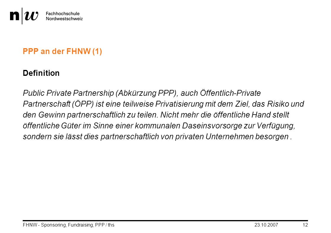 PPP an der FHNW (1) Definition