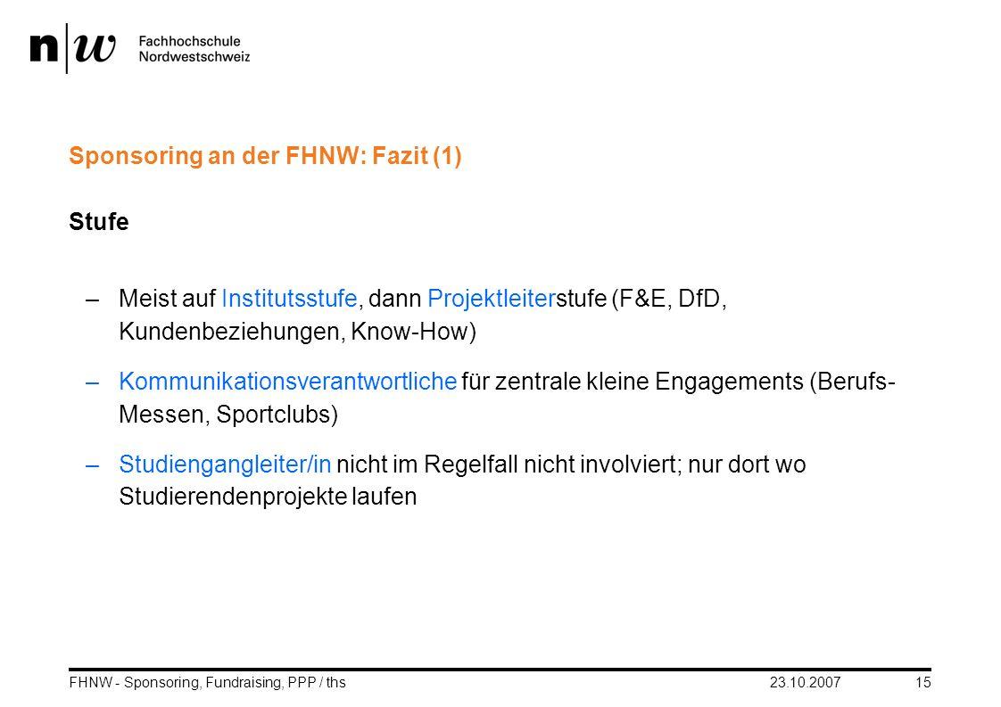 Sponsoring an der FHNW: Fazit (1)