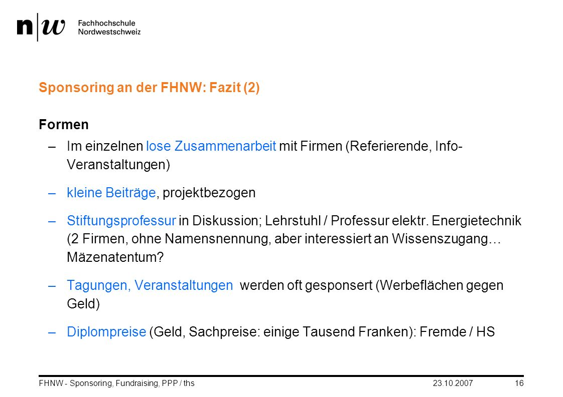 Sponsoring an der FHNW: Fazit (2)