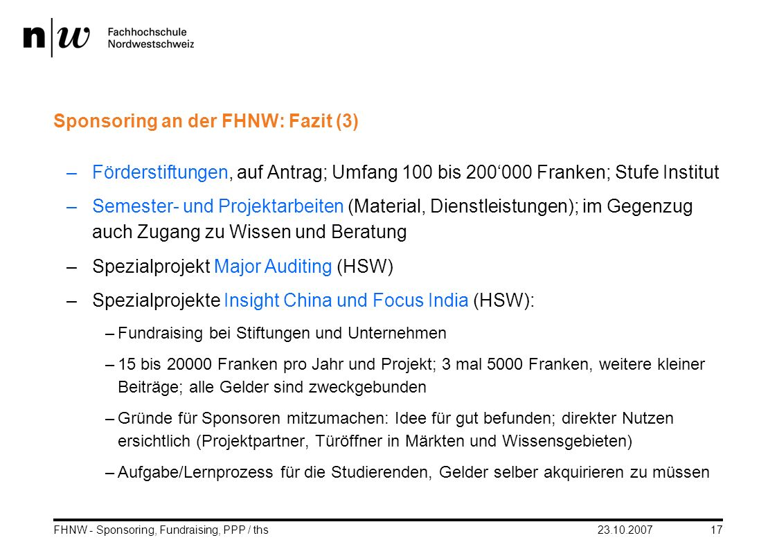 Sponsoring an der FHNW: Fazit (3)