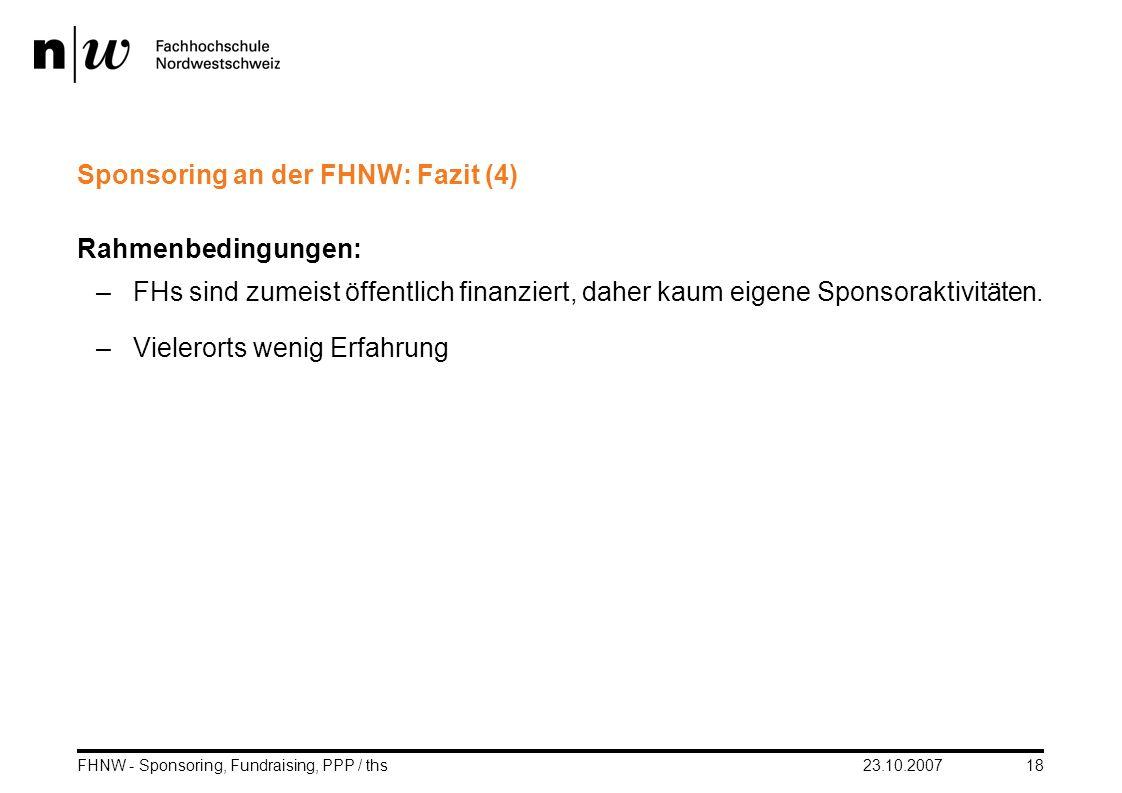 Sponsoring an der FHNW: Fazit (4)