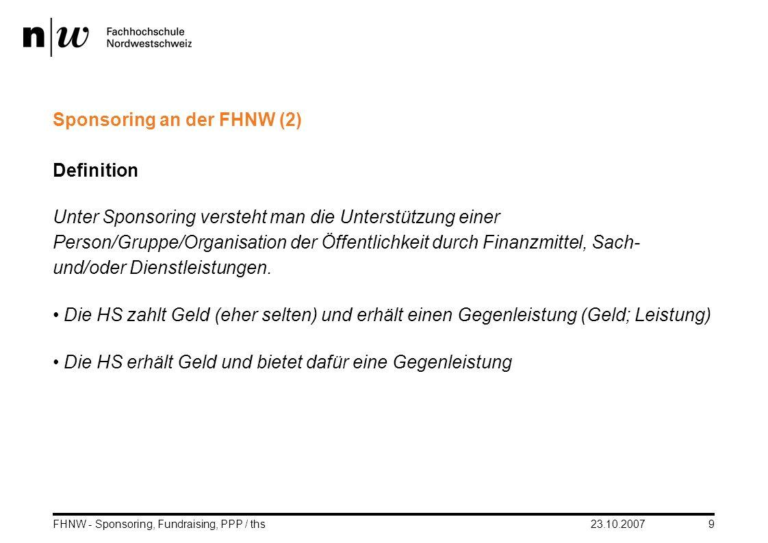 Sponsoring an der FHNW (2)