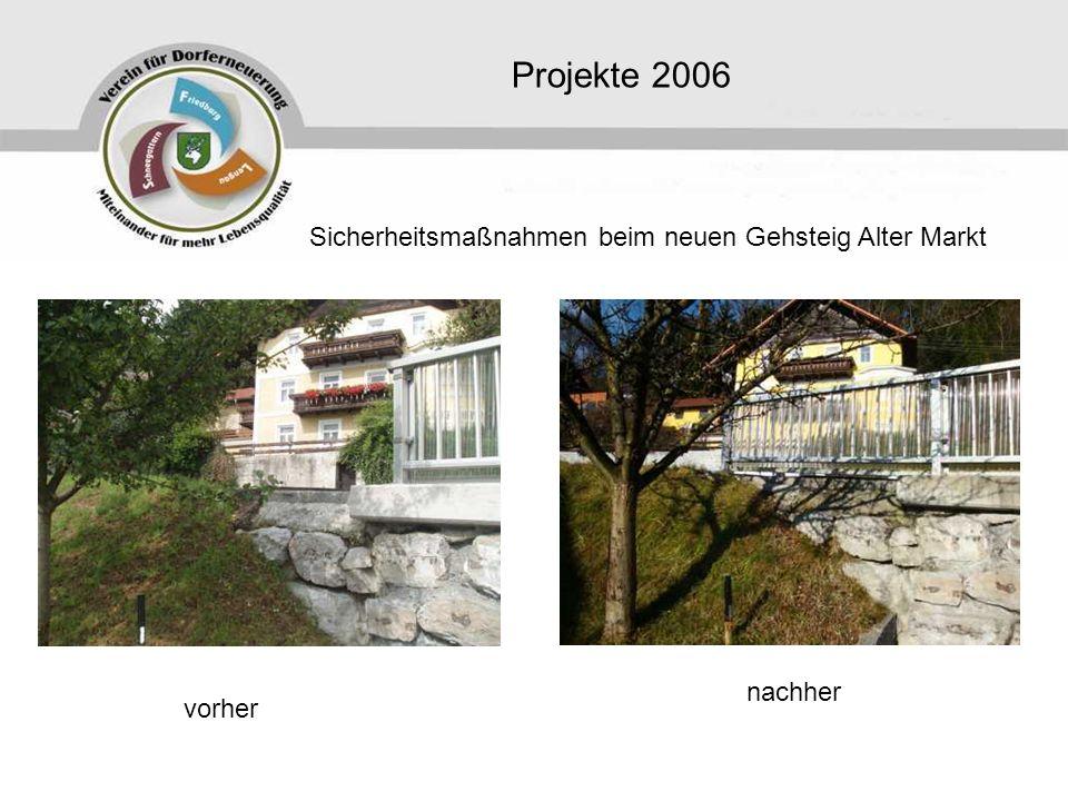 Projekte 2006 Sicherheitsmaßnahmen beim neuen Gehsteig Alter Markt