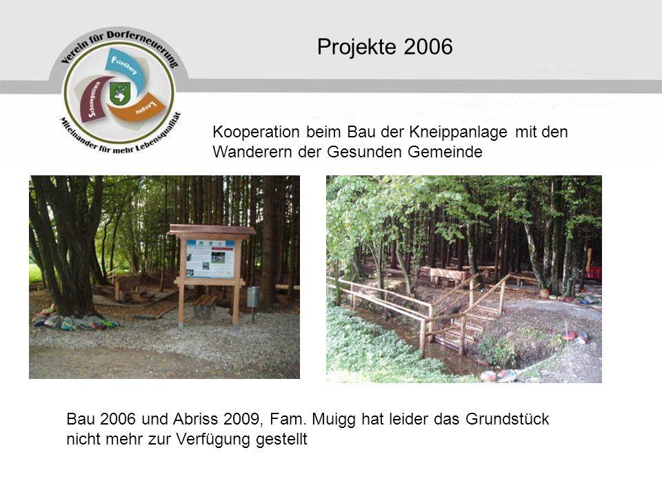 Projekte 2006 Kooperation beim Bau der Kneippanlage mit den Wanderern der Gesunden Gemeinde.