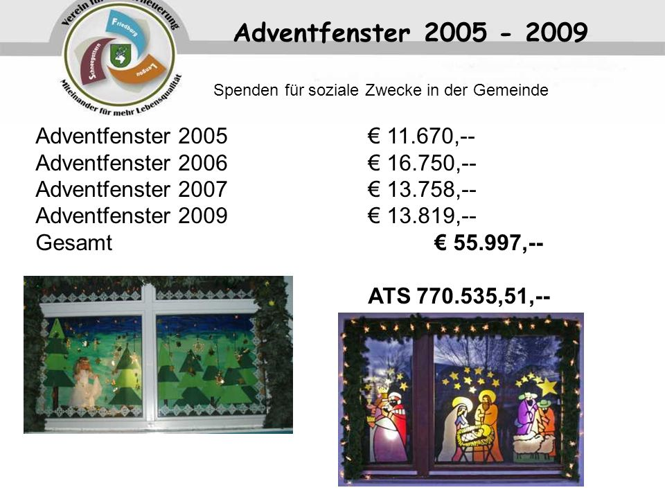 Adventfenster 2005 - 2009 Adventfenster 2005 € 11.670,--