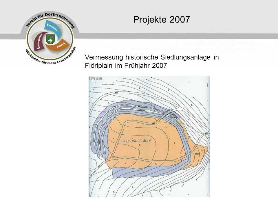 Projekte 2007 Vermessung historische Siedlungsanlage in Flörlplain im Frühjahr 2007