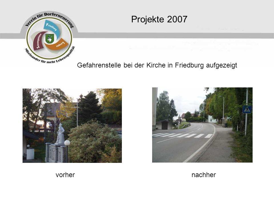 Projekte 2007 Gefahrenstelle bei der Kirche in Friedburg aufgezeigt