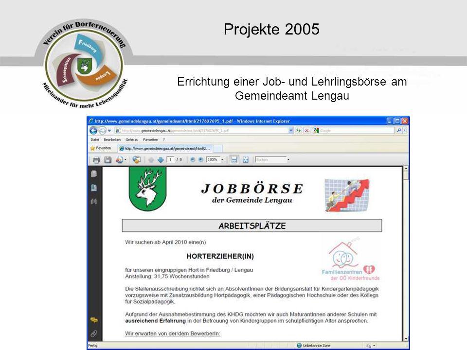 Errichtung einer Job- und Lehrlingsbörse am Gemeindeamt Lengau
