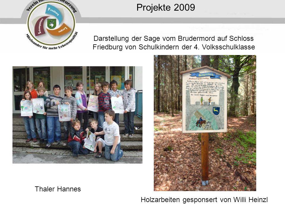 Projekte 2009 Darstellung der Sage vom Brudermord auf Schloss Friedburg von Schulkindern der 4. Volksschulklasse.
