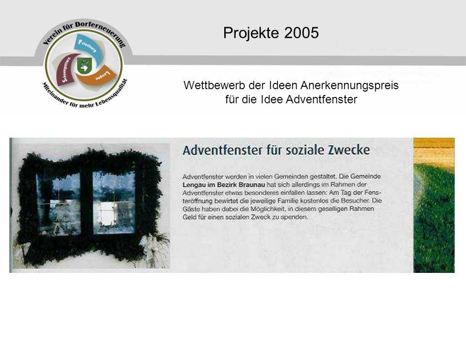 Wettbewerb der Ideen Anerkennungspreis für die Idee Adventfenster