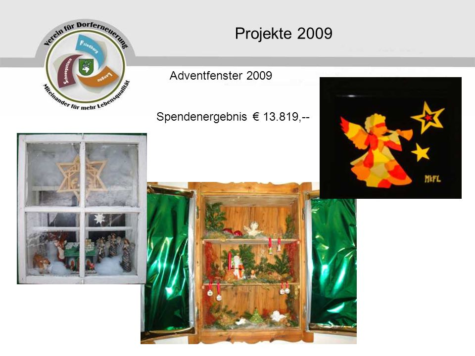 Projekte 2009 Adventfenster 2009 Spendenergebnis € 13.819,--