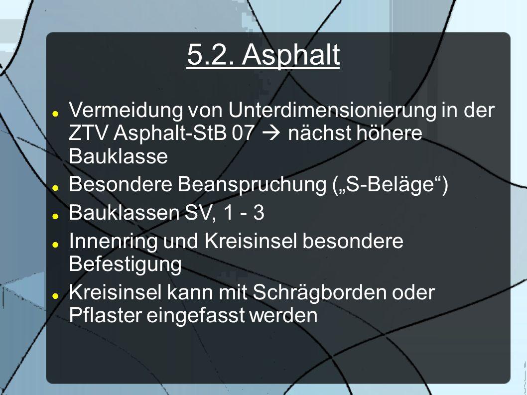 5.2. AsphaltVermeidung von Unterdimensionierung in der ZTV Asphalt-StB 07  nächst höhere Bauklasse.