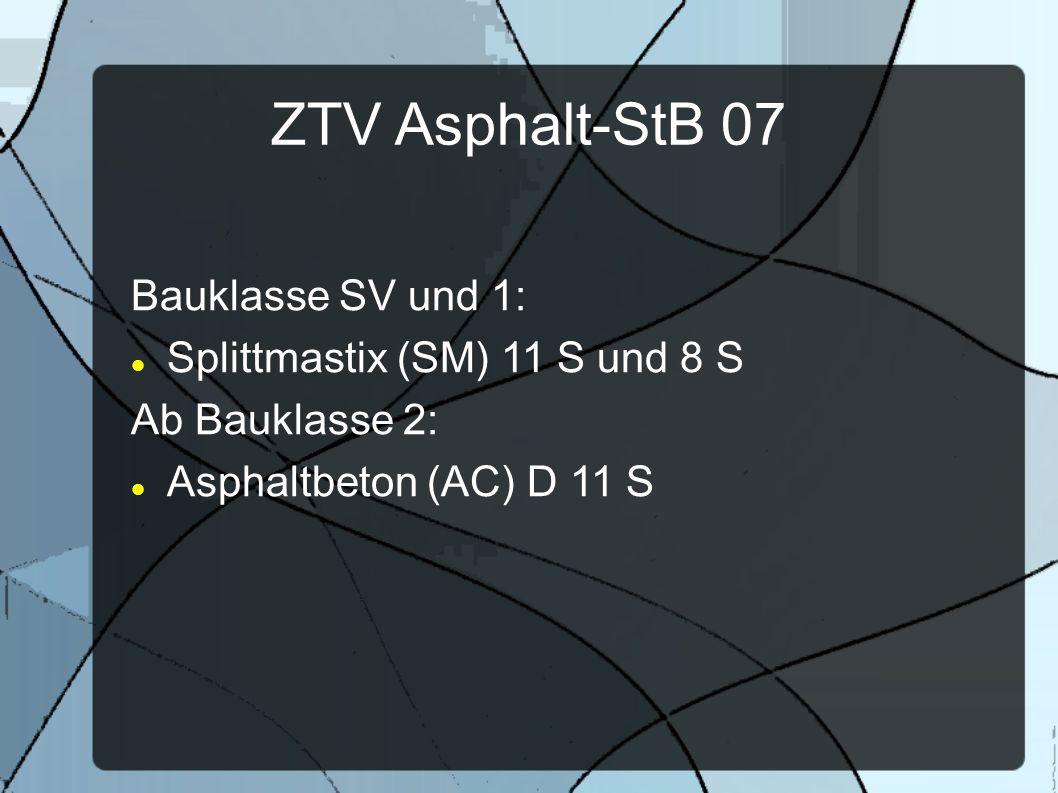 ZTV Asphalt-StB 07 Bauklasse SV und 1: Splittmastix (SM) 11 S und 8 S