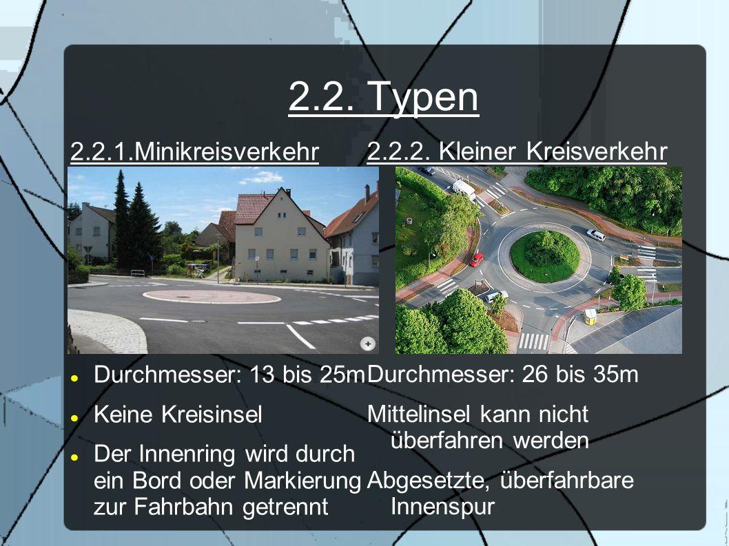 2.2. Typen 2.2.1.Minikreisverkehr 2.2.2. Kleiner Kreisverkehr
