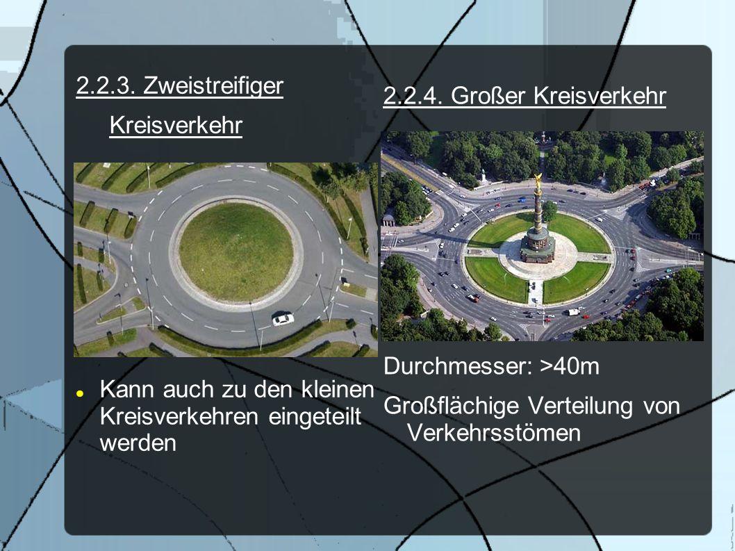 2.2.3. Zweistreifiger Kreisverkehr. Kann auch zu den kleinen Kreisverkehren eingeteilt werden. 2.2.4. Großer Kreisverkehr.