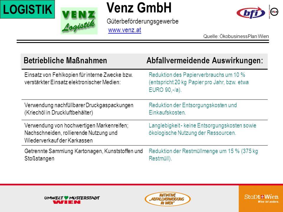 Venz GmbH LOGISTIK. Güterbeförderungsgewerbe www.venz.at. Quelle: ÖkobusinessPlan Wien.