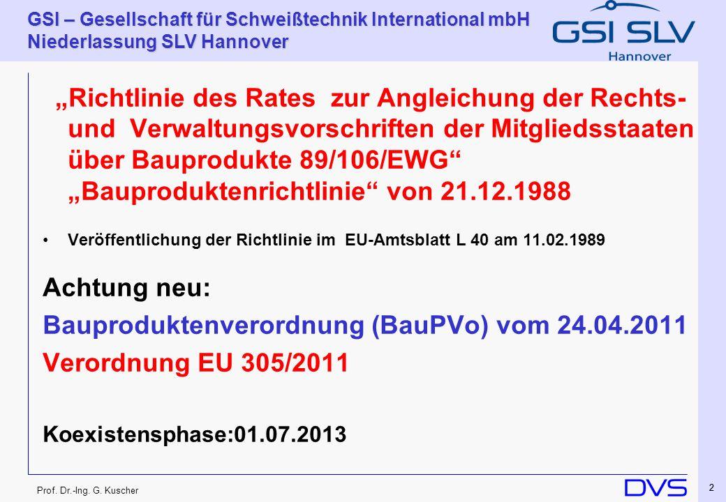 Bauproduktenverordnung (BauPVo) vom 24.04.2011 Verordnung EU 305/2011