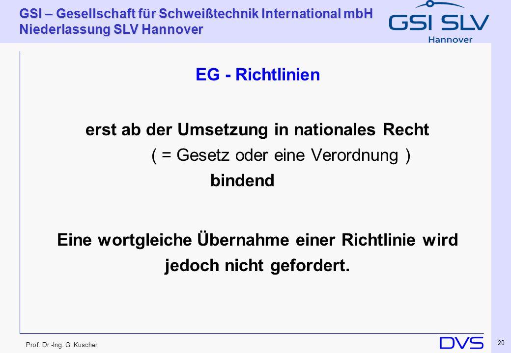 EG - Richtlinien erst ab der Umsetzung in nationales Recht ( = Gesetz oder eine Verordnung ) bindend.