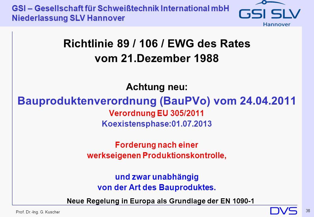 Richtlinie 89 / 106 / EWG des Rates vom 21.Dezember 1988