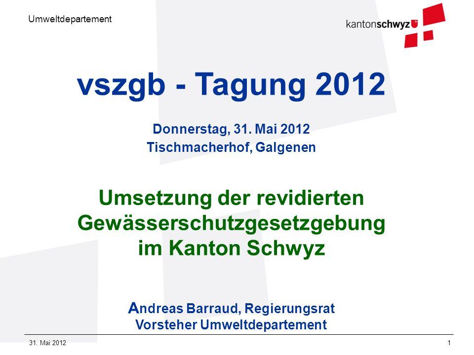 vszgb - Tagung 2012 Donnerstag, 31. Mai 2012 Tischmacherhof, Galgenen. Umsetzung der revidierten Gewässerschutzgesetzgebung.