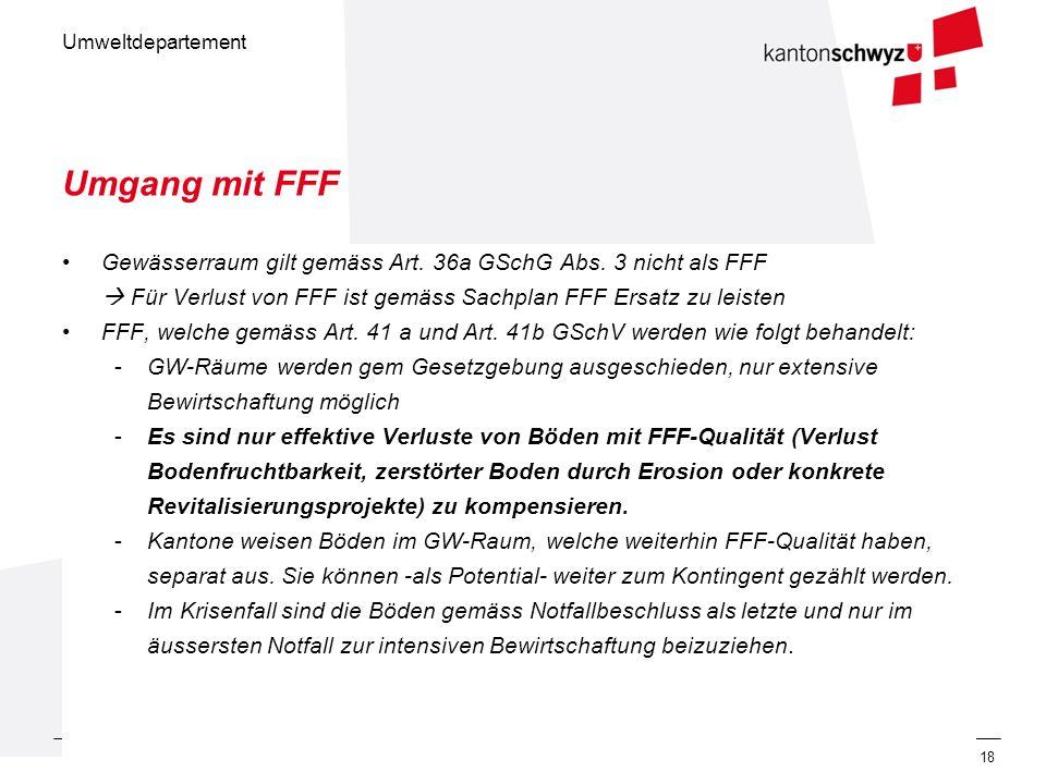 Umgang mit FFF Gewässerraum gilt gemäss Art. 36a GSchG Abs. 3 nicht als FFF.  Für Verlust von FFF ist gemäss Sachplan FFF Ersatz zu leisten.