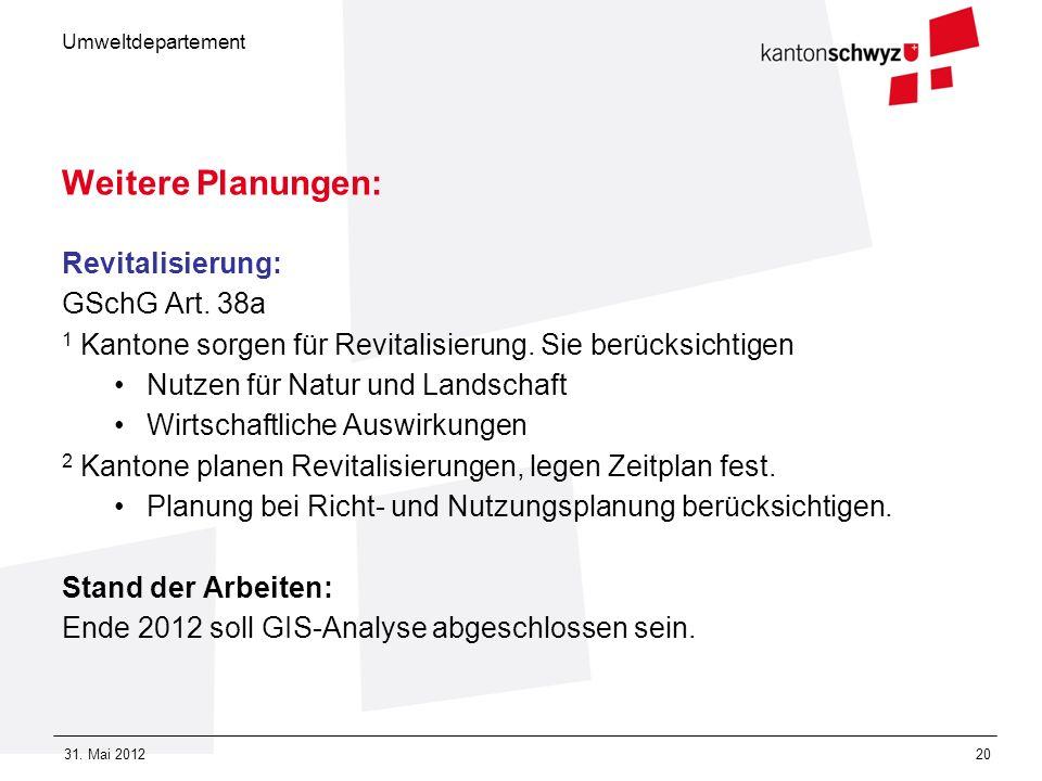 Weitere Planungen: Revitalisierung: GSchG Art. 38a