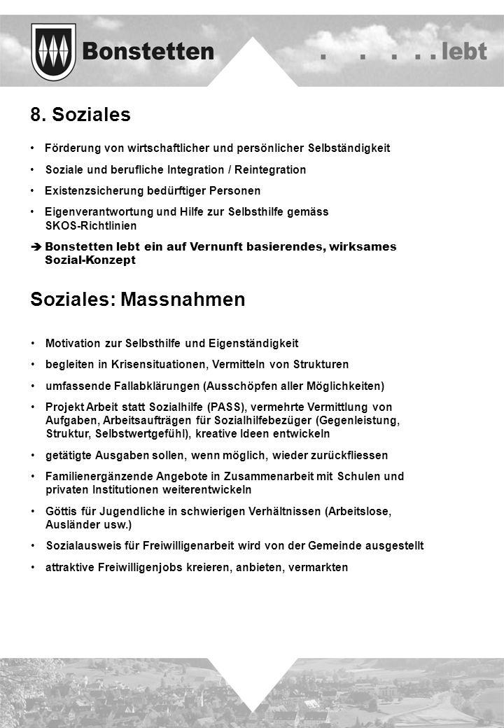 8. Soziales Soziales: Massnahmen