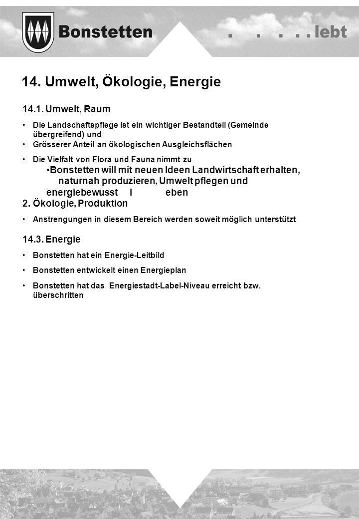 14. Umwelt, Ökologie, Energie