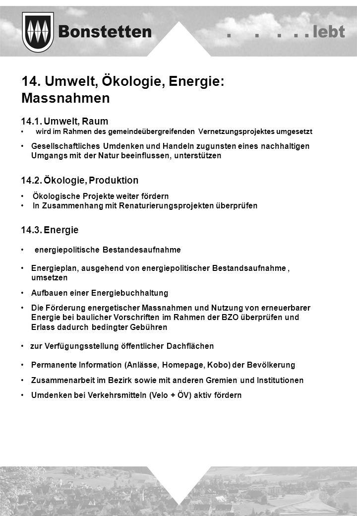 14. Umwelt, Ökologie, Energie: Massnahmen