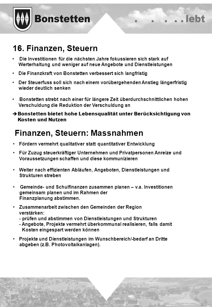 Finanzen, Steuern: Massnahmen