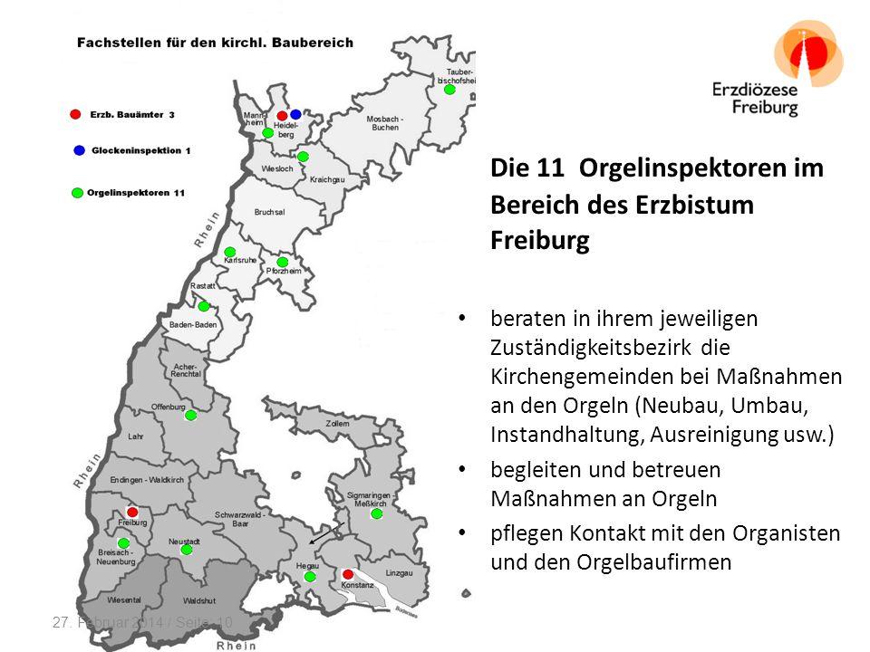 Die 11 Orgelinspektoren im Bereich des Erzbistum Freiburg