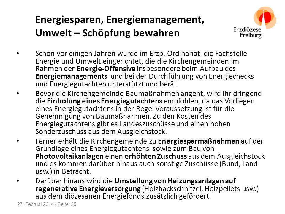 Energiesparen, Energiemanagement, Umwelt – Schöpfung bewahren