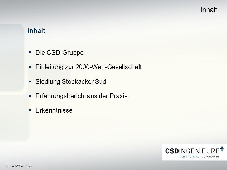 Inhalt Inhalt Die CSD-Gruppe Einleitung zur 2000-Watt-Gesellschaft
