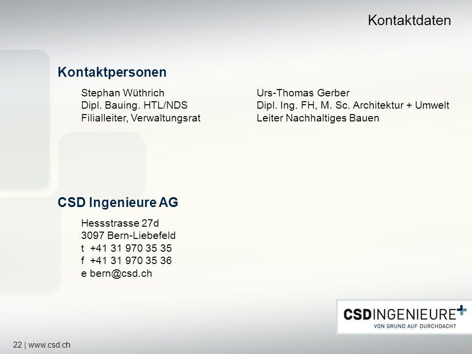Kontaktdaten Kontaktpersonen CSD Ingenieure AG