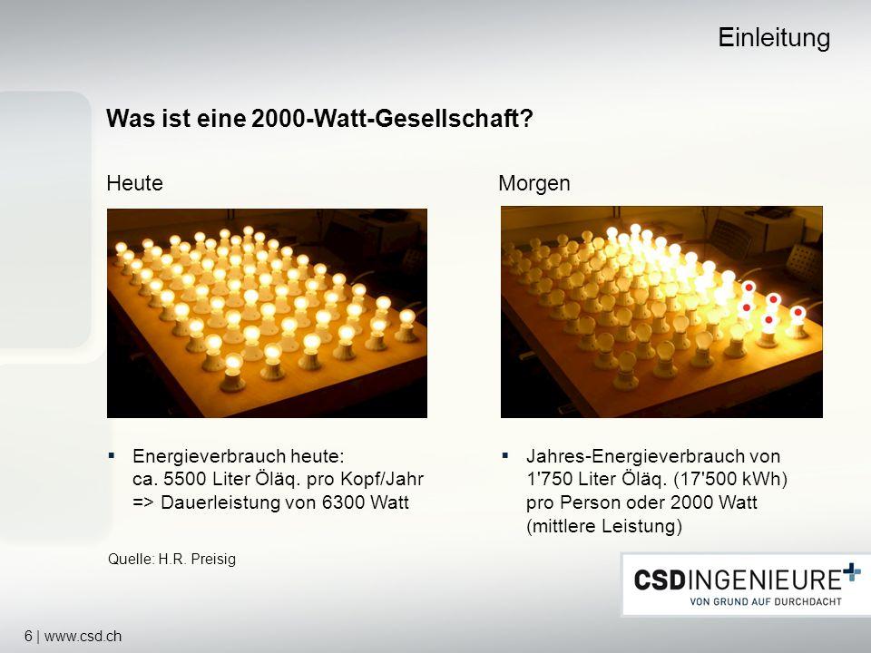 Einleitung Was ist eine 2000-Watt-Gesellschaft Heute Morgen